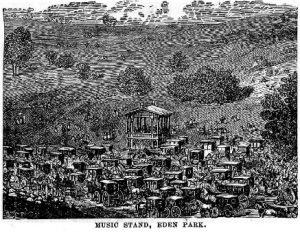 woodcut of Eden Park Bandstand